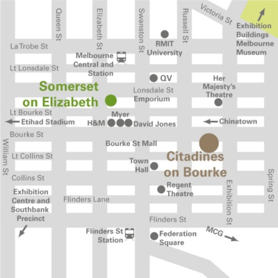 Location of Chinese Medicine Board forum at Citadines on Bourke Melbourne, 131–135 Bourke Street, Melbourne